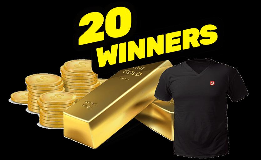 الجائزة الأولى: ذهب بقيمة 100 الف د.إ + 19 جائزة من الذهب بقيمة الفين د.إ combined